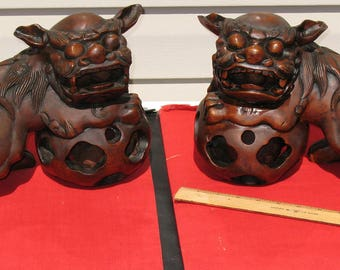 Chinese Imperial guardian Fu Lions Nanmu wood carved