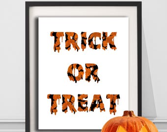 Halloween Trick or Treat Digital Print Orange, Black, Halloween Print, Printable, Holiday Print, Instant Artwork