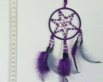 Lucky way dreamcatcher to rear view mirror - purple and gray
