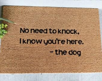 Dog doormat, custom doormat, welcome mat, funny doormat, dogs, barking dogs, funny doormat