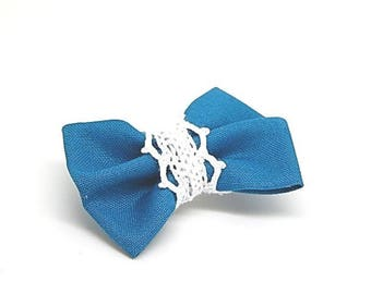 Turquoise and white fabric and lace Butterfly bow brooch