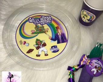 Willy Wonka Birthday Party Dinnerware Package | Plates, Cups, and Napkin Rolls with Utensils | Customizable | Party Supplies