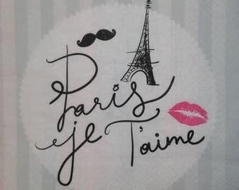 087 PARIS JE T'AIME pattern 2 X 2 1 lunch size paper towel