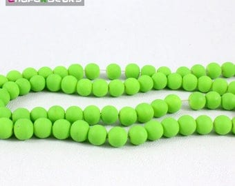 Set of 20 green 8 mm round glass beads