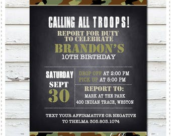 Calling All TROOPS! Military Birthday Invitation