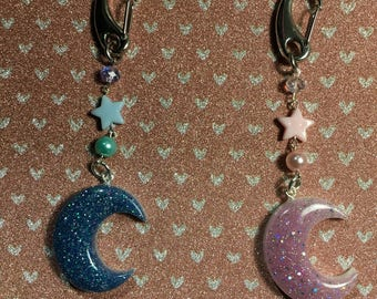 Sparkly Puffy Moon bag chain/charm