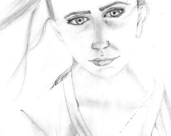 Girl portrait pencil on paper