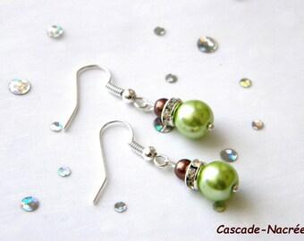 chocolate lime bridal wedding Pearl Earrings green rhinestone Pearl