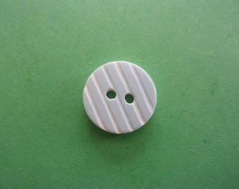 Set of 2 buttons round light blue striped acrylic beads, 2 holes - 15 mm