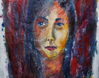 Portrait in contemporary style acrylic painting