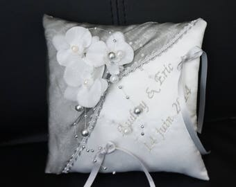 Orchid silver themed wedding ring cushion