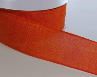 "FREE SHIPPING- 2.5"" Wired Orange Linen Ribbon - Fall Ribbon- 5 Yards"