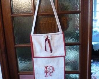 Hemp canvas bread bag - embroidery