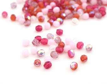 50 beads Oval 4mm pink faceted Bohemian glass