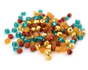 10 gr large turquoise, gold, orange and Tan glass 4mm seed beads / MPERRO041