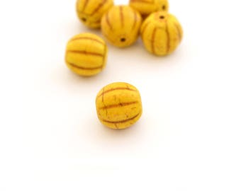 1 Pearl round 12mm yellow synthetic howlite