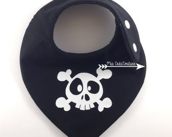 "Anti bavouille ""Death's head"" bandana bib - Monochrome Collection"