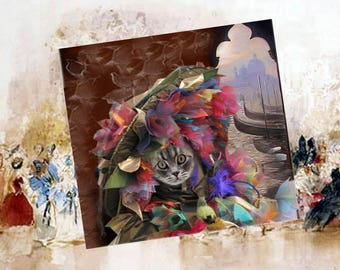 Square card with cat: my beautiful Venetian Hat flower