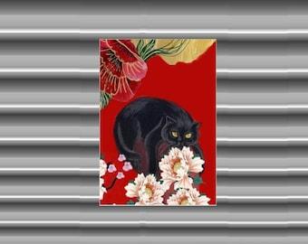 Cat Fridge Magnet: black cat and peonies