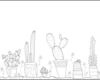 Printable Coloring Page | Potted Cacti