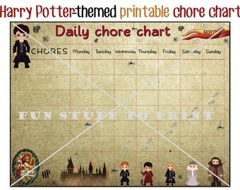 Printable chore chart for Harry Potter fans and little witches and wizards - timetables - schedules - chores