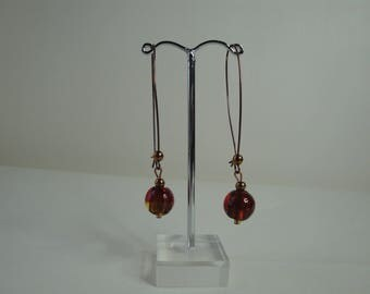 Long red earrings gold leaf