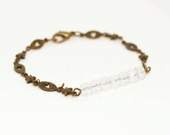 Clear faceted white bracelet only the stars