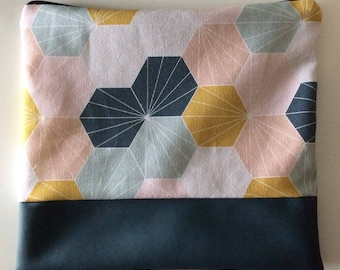 Faux leather and fabric bag