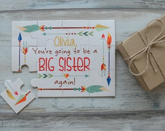Announcement Puzzle, You're Going To Be a Big Sister/ Big Brother / Aunt / Uncle / Grandma / Grandpa AGAIN Custom Puzzle, Pregnancy Reveal