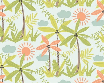 MINEY MOE fabric cotton patchwork exotic Nature sunny Palm trees and plants x50cm