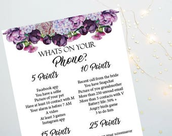 Whats On Your Phone Bachelorette Party Game, Peonies Printable Bachelorette Game, Bridal Shower Game, Hens Night Game