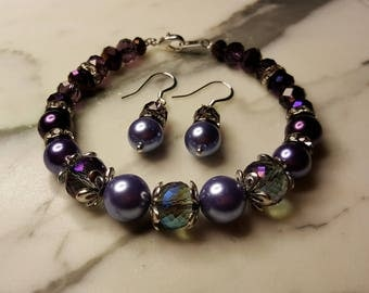 Shades of Purple Bracelet with matching Earrings