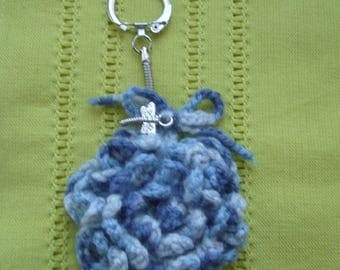 Keychain or bag charm handmade crochet - flower wool to the soft shades of blue-gray - Dragonfly charm