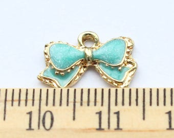 3 Blue Bow Pendant Charms - ef0013