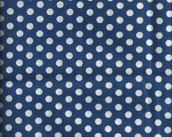 Fabric large white dots background Navy (coupon 45x45cm) 100% fine cotton
