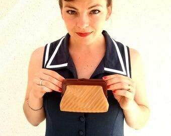 Coin purse beige orange striped - Seventies