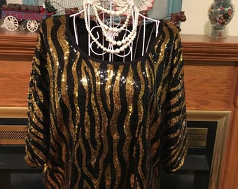 80's evening blouse with sequins
