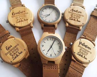 Personalised wooden watches for Men and Ladies - Engraved message of your choice onto the back. Gift for him - Gift for her - Wedding Gift