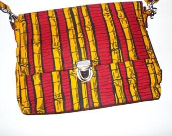 SUNDOWN Yellow and Red Unique African Ankara Print Clutch Bag