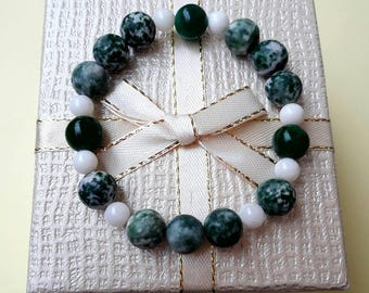 Handmade Moss Agate, white Agate and Nephrite Jade gemstone bracelet