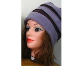 Light purple and dark purple Hat adult size fleece material