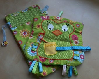 Green and multicolor OWL blanket