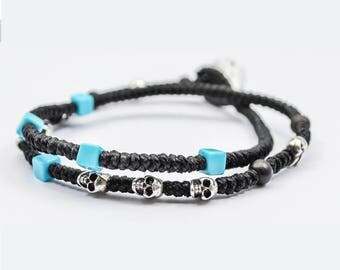 Double Wrap Waxed Cord Knots Bracelet With 925 Silver Skulls And Turquoise Beads