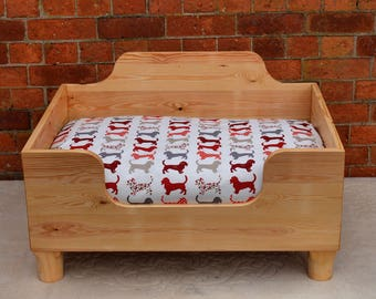 Waxed Finish Deep Wooden Dog Bed
