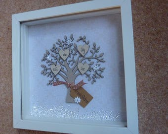 Personalised Family Tree Gift Picture Frame Grandchildren Grandparents Gift Keepsake