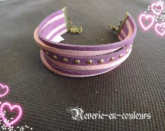 """""""Lilac"""" Purple suede Cuff Bracelet"""