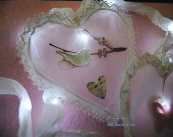 Bright white lace and organza hearts