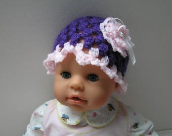 crochet pink baby girl 0-3 months purple and Flower hat