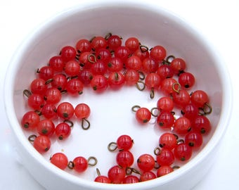 Charms - glass beads - red - bronze - lots of 10 - hobby - francesca jewelry beads