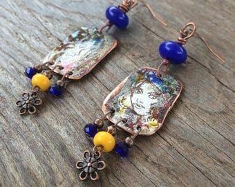 Earrings Bohemian Portraits - sketch - Gypsy - Indra